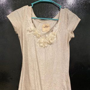 Hollister Cream V Neck Top
